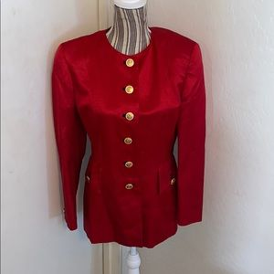 Escada Couture Red Jacket Gold Buttons